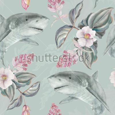 Carta da parati Modello floreale illustrato mano senza soluzione di continuità con rosa Medinilla Magnifica e squalo