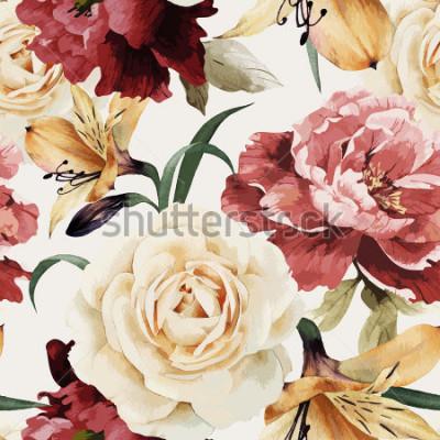 Carta da parati Modello floreale senza cuciture con le rose, acquerello. Illustrazione vettoriale
