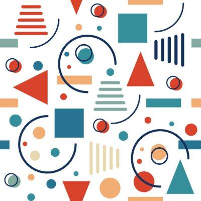 Carta da parati Modello geometrico senza saldatura. Cerchi, triangoli e linee. Retro disegno vettoriale.