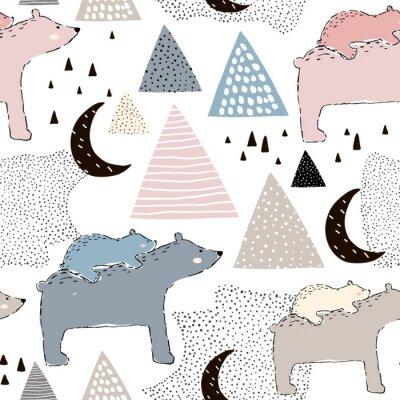 Carta da parati Modello infantile senza cuciture con l'orso polare mamma e bambino. Design creativo per bambini. Perfetto per tessuto, tessile, warpping, nursery.Illustrazione vettoriale