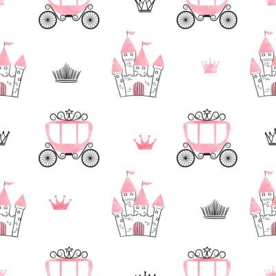 Carta da parati Modello principessa senza cuciture con castelli, corone e carrelli. Sfondo vettoriale
