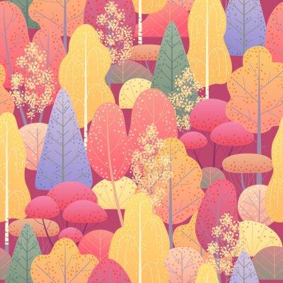 Carta da parati Modello senza cuciture con Autumn Forest