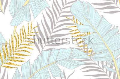 Carta da parati Modello senza cuciture con banana e nebbia della palma d'oro nel vettore