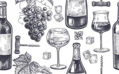 Carta da parati Modello senza cuciture con bere vino.