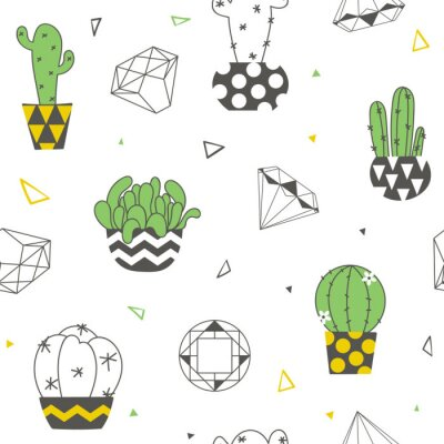 Carta da parati Modello senza cuciture con cactus divertenti