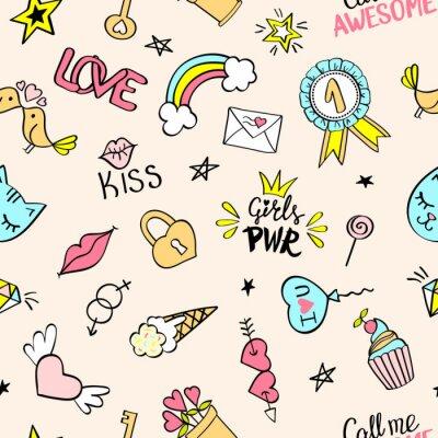 Carta da parati Modello senza cuciture con disegnati a mano scarabocchi girly. Ripetendo sfondo con elementi di design schizzo infantile per tessile, carta da parati, scrapbooking.