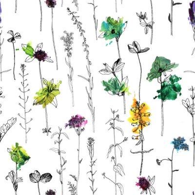 Carta da parati Modello senza cuciture con disegno di erbe e fiori
