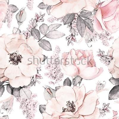 Carta da parati Modello senza cuciture con fiori rosa e foglie su sfondo bianco, acquerello motivo floreale, fiore rosa in colore pastello, piastrellabile per carta da parati, carta o tessuto