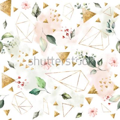 Carta da parati Modello senza cuciture con foglie e fiori di primavera. Sfondo disegnato a mano. modello con forma geometrica poligonale. Mattonelle botaniche