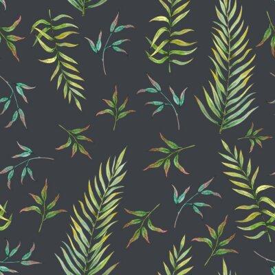 Carta da parati modello senza cuciture con foglie tropicali su uno sfondo scuro