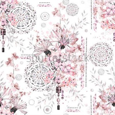 Carta da parati modello senza cuciture con i fiori e gli ornamenti strutturati - mandala. Astratto sfondo floreale con fiore selvaggio prato e illustrazione geometrica.