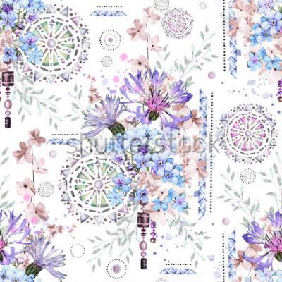 Carta da parati modello senza cuciture con i fiori e gli ornamenti strutturati - mandala. Astratto sfondo floreale con fiore selvaggio prato e illustrazione geometrica. Fiordalisi, non