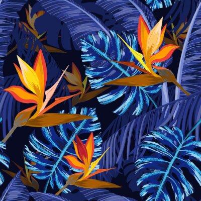 Carta da parati Modello senza cuciture con i fiori tropicali blu