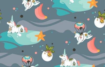Carta da parati Modello senza cuciture con le illustrazioni del fumetto creativo grafico astratto disegnato a mano di vettore con gli unicorni del cosmonauta con il tatuaggio della vecchia scuola, le comete ed i pian