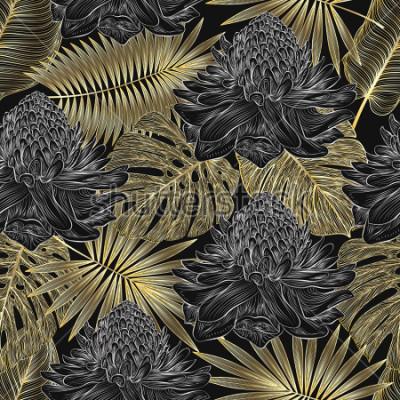 Carta da parati Modello senza cuciture con palma tropicale foglia e fiori Ginger. Illustrazione vettoriale