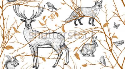 Carta da parati Modello senza cuciture con rami di alberi, animali della foresta e uccelli. Cervo, volpe, lepre, scoiattolo. Illustrazione arte vettoriale Design naturale per tessuti, tessuti, carta, carta da parati.