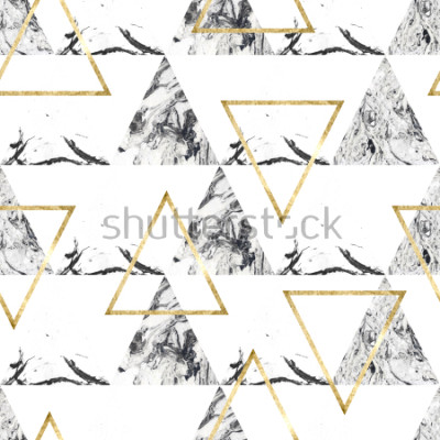 Carta da parati Modello senza cuciture con tringles e struttura di marmo