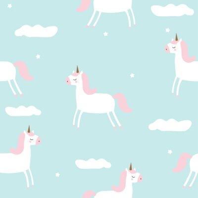 Carta da parati Modello senza cuciture con unicorno magico nel cielo. Illustrazione disegnata a mano di vettore