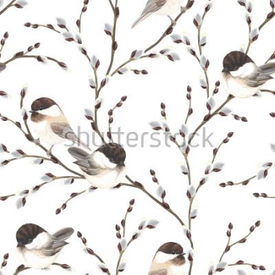 Carta da parati Modello senza cuciture dei rami e degli uccelli del Chickadee nero-ricoperti, illustrazione di vettore su fondo bianco nello stile dell'acquerello.