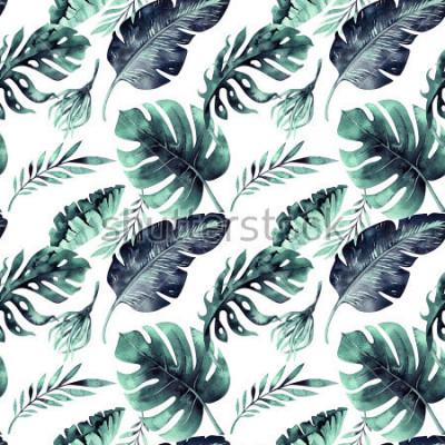 Carta da parati Modello senza cuciture dell'acquerello delle foglie tropicali, giungla densa. Foglia di palma dipinta a mano. Trama con estate tropicale può essere utilizzato come sfondo, carta da imballaggio, te