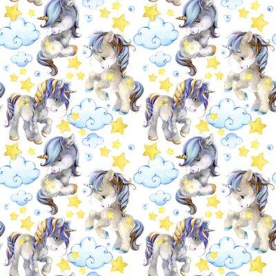 Carta da parati modello senza cuciture dell'acquerello di unicorno sveglio