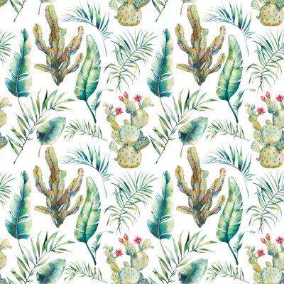 Carta da parati Modello senza cuciture delle foglie della palma, del cactus e della banana di estate. Rami di acquerello verde e succulente fioritura su sfondo bianco. Design di carta da parati esotica
