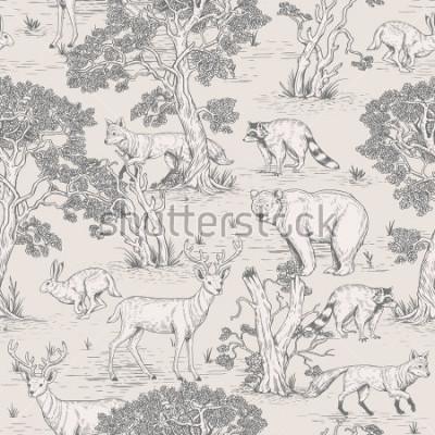 Carta da parati modello senza cuciture di animali d'epoca selvatici illustrati del terreno boscoso nella foresta