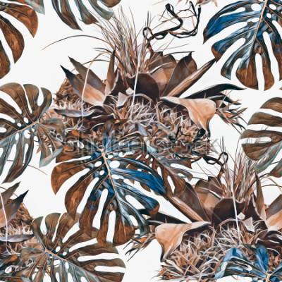 Carta da parati Modello senza cuciture di piante tropicali. Illustrazione ad acquerello Sfondo artistico