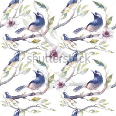 Carta da parati Modello senza cuciture di primavera con fiori, rami degli alberi, fiori e foglie. Modello di carta da parati botanico dipinto a mano con uccelli blu su sfondo bianco. Texture naturale d & #