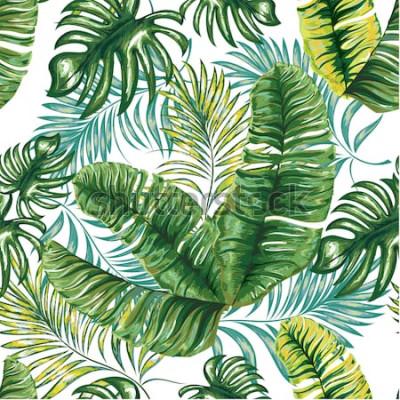 Carta da parati Modello senza cuciture di una palma tropicale, foglie di giungla e fiori. Disegno a mano. Motivo floreale vettoriale