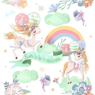 Carta da parati Modello senza cuciture di unicorni svegli. Modello di bambini con unicorni, fiori, palloncini, nuvole e arcobaleno