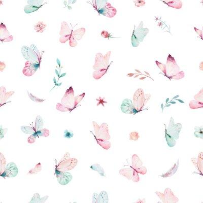 Carta da parati Modello senza cuciture di unicorno dell'acquerello sveglio con i fiori. Modelli di magia unicorno della scuola materna. Trama principessa arcobaleno. Cavallo pony cartoon rosa alla moda.