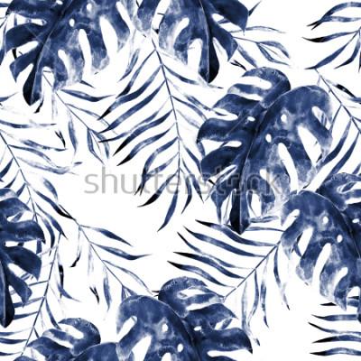 Carta da parati Modello senza cuciture esotico dell'acquerello, foglie tropicali verdi, illustrazione botanica di estate su fondo bianco