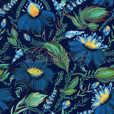 Carta da parati Modello senza cuciture floreale astratto nello stile ucraino Petrykivka della pittura di piega. Disegnati a mano fiori fantasia, foglie, rami su uno sfondo blu indaco scuro. Batik, riempimento pagina,