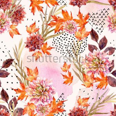 Carta da parati Modello senza cuciture floreale dell'acquerello di autunno. Sfondo con fiori di dalia, foglie, forme geometriche riempite con texture doodle. Illustrazione disegnata a mano di arte dell'acquer