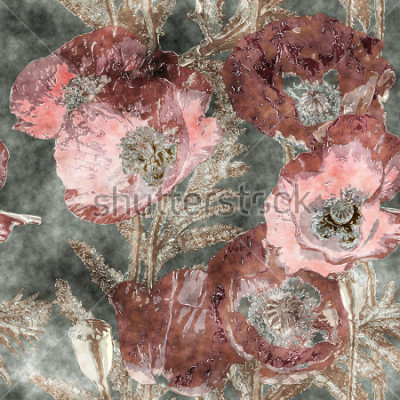 Carta da parati modello senza cuciture floreale variopinto dell'acquerello dell'annata di arte con i papaveri, le foglie e le erbe rosso scuro su fondo