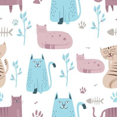 Carta da parati Modello senza cuciture Gatto sveglio con il fumetto disegnato a mano