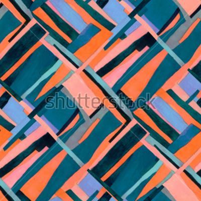 Carta da parati Modello senza cuciture geometrico con strisce multicolor e alzavole rombo. Alla moda astratto sfondo contemporaneo.