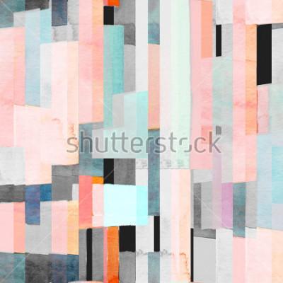 Carta da parati Modello senza cuciture geometrico con strisce multicolori e alzavole. Sfondo astratto alla moda.