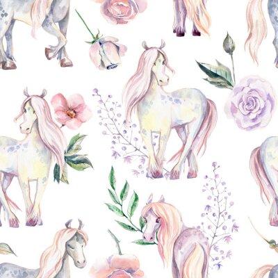 Carta da parati Modello senza cuciture Magic Pony. Illustrazione ad acquerello, bellissima