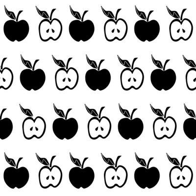 Carta da parati Modello senza cuciture nero mela bianca