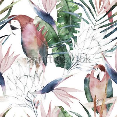 Carta da parati Modello senza cuciture tropicali con pappagalli, protea e foglie. Stampa acquerello estate Illustrazione disegnata a mano esotica