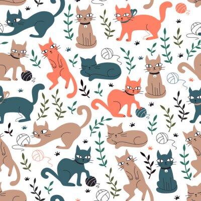 Carta da parati Modello senza cuciture variopinto con gatti e foglie.