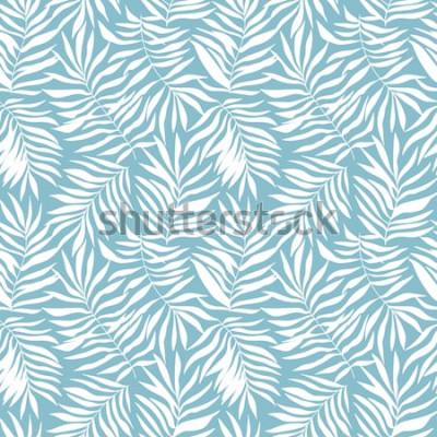 Carta da parati Modello senza saldatura con foglie di palma tropicale. Bella stampa con piante esotiche disegnate a mano. Costumi da bagno design botanico. Illustrazione vettoriale