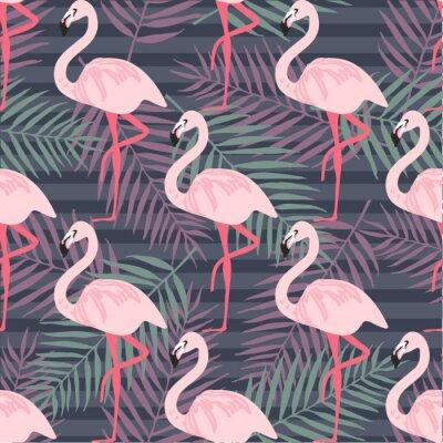 Carta da parati Modello senza saldatura trendy tropicale con fenicottero rosa, ananas, foglie tropicali. Sfondo della spiaggia. Paradiso tropicale