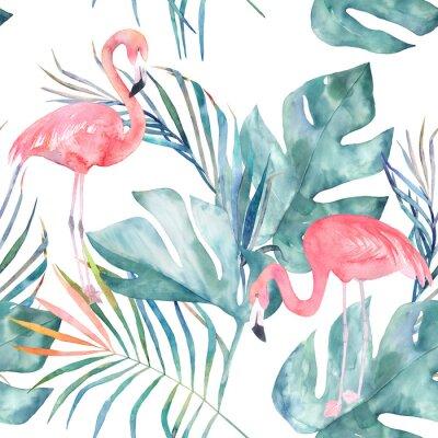 Carta da parati Modello senza saldatura tropicale con fenicottero e foglie. Acquerello stampa estiva. Illustrazione esotica disegnata a mano