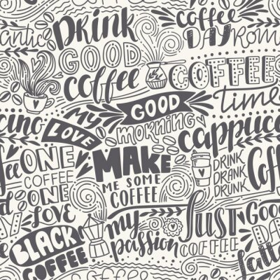 Carta da parati Modello senza soluzione di caffè caffè con citazioni. Illustrazione vettoriale disegnata a mano