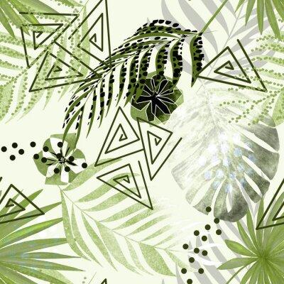 Carta da parati Modello tropicale colorato senza soluzione di continuità. Foglie di palma verdi, fiori sfondo bianco.