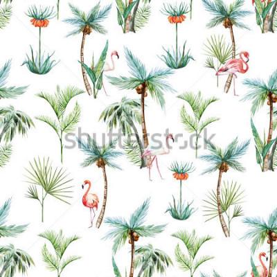 Carta da parati modello tropicale dell'acquerello, palma e fenicotteri sfondo bianco