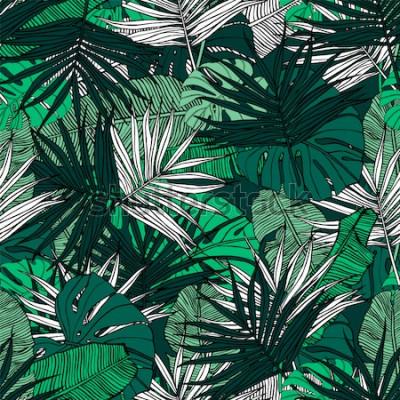 Carta da parati Modello tropicale senza soluzione di continuità Illustrazione disegnata a mano con fogliame di piante tropicali. Texture con foglie di banano, palma e monstera. Disegno vettoriale estate.